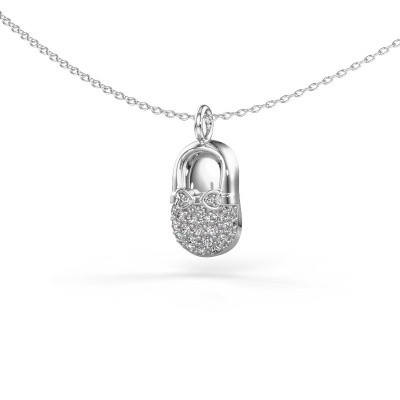 Picture of Pendant Babyshoe 375 white gold lab grown diamond 0.193 crt