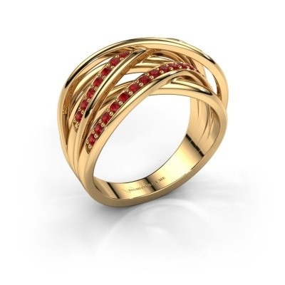 Ring Fem 2 375 goud robijn 1.5 mm
