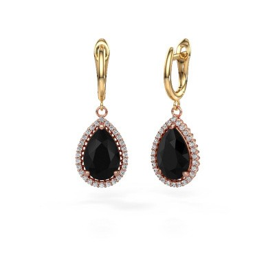 Drop earrings Hana 1 585 rose gold black diamond 7.62 crt