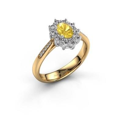 Verlovingsring Leesa 2 585 goud gele saffier 6x4 mm