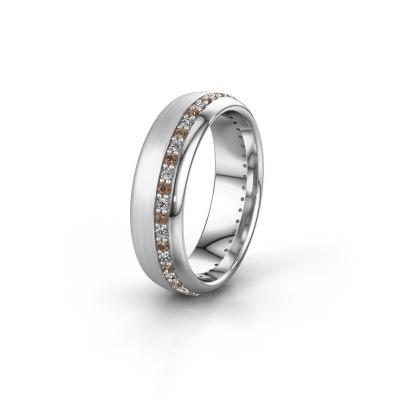 Trouwring WH0303L36BMP 585 witgoud bruine diamant ±6x2 mm