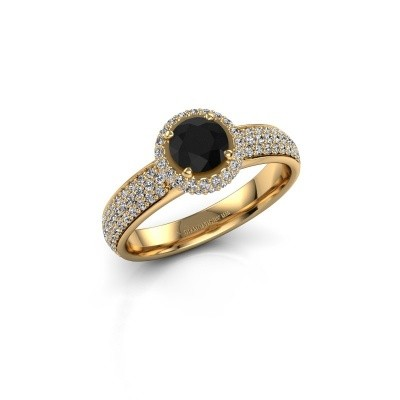 Engagement ring Mildred 375 gold black diamond 1.411 crt