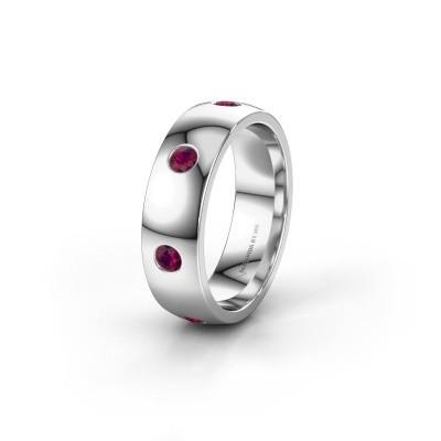 Wedding ring WH0105L26BP 950 platinum rhodolite ±0.24x0.08 in