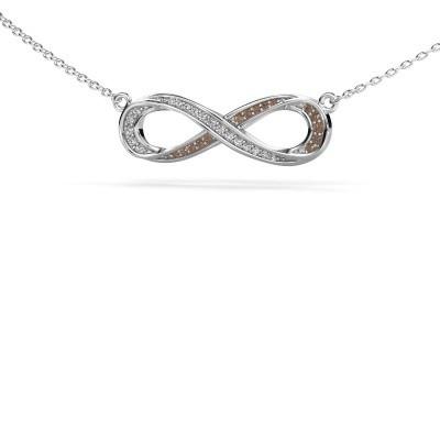 Collier Infinity 2 585 witgoud bruine diamant 0.123 crt