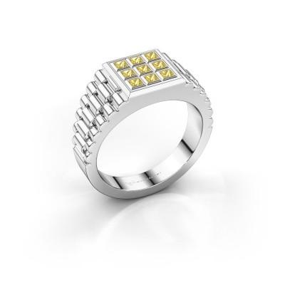 Foto van Heren ring Chavez 925 zilver gele saffier 2 mm