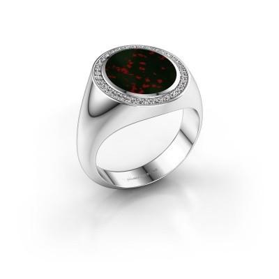Signet ring Adam 3 375 white gold bloodstone 13x11 mm