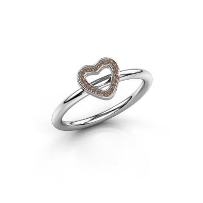 Ring Shape heart small 950 platina bruine diamant 0.055 crt