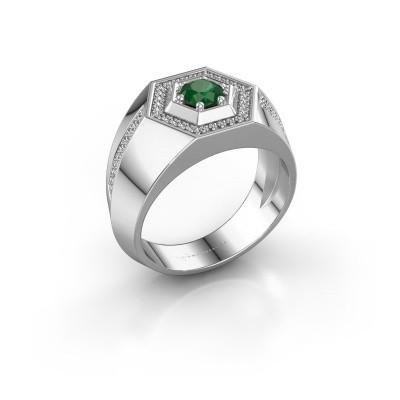 Foto van Heren ring Sjoerd 375 witgoud smaragd 4.7 mm