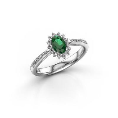 Foto van Verlovingsring Tilly 2 925 zilver smaragd 6x4 mm