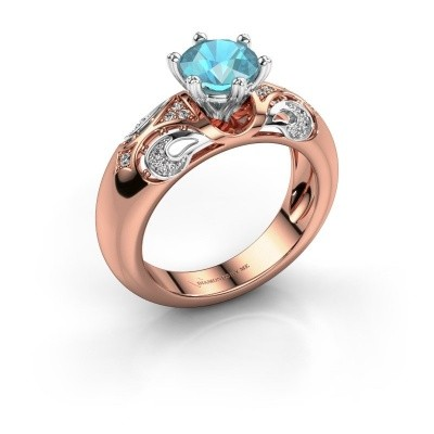 Ring Maya 585 Roségold Blau Topas 6.5 mm