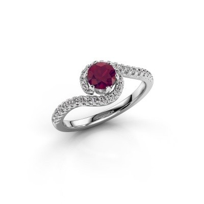 Engagement ring Elli 585 white gold rhodolite 5 mm