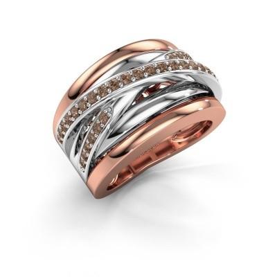 Foto van Ring Clair 3 585 rosé goud bruine diamant 0.495 crt