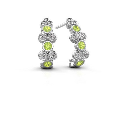 Earrings Kayleigh 585 white gold peridot 2.4 mm