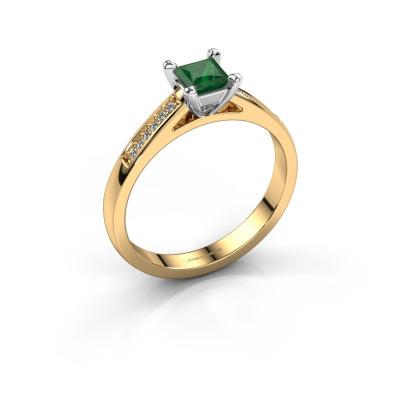 Engagement ring Nynke SQR 585 gold emerald 4 mm