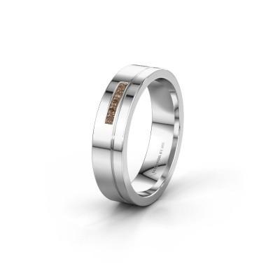 Trouwring WH0307L15AP 950 platina bruine diamant ±5x1.7 mm