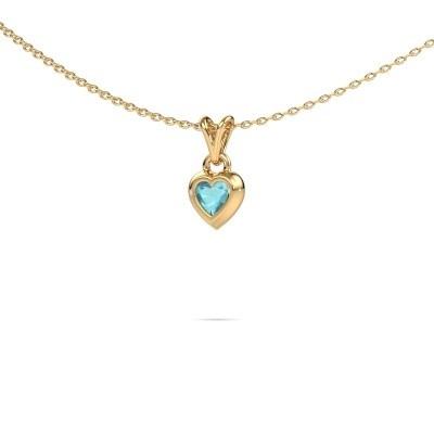 Foto van Hanger Charlotte Heart 585 goud blauw topaas 4 mm