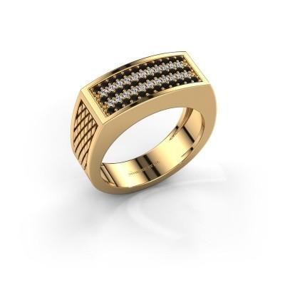 Foto van Heren ring Erwin 585 goud zwarte diamant 0.489 crt