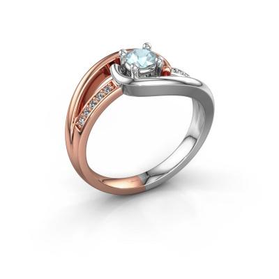 Ring Aylin 585 rosé goud aquamarijn 4 mm