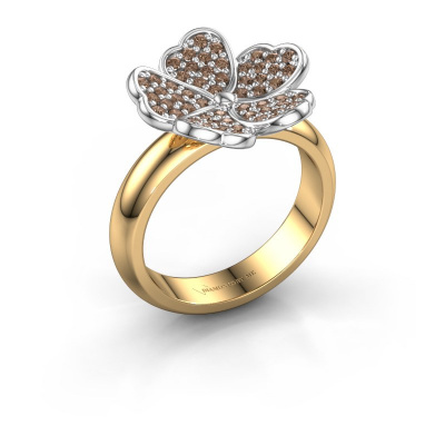 Ring Daphne 585 gold brown diamond 0.450 crt
