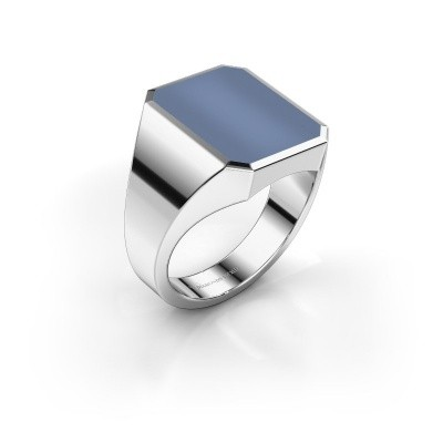 Foto van Zegelring Lars 4 925 zilver licht blauwe lagensteen 15x12 mm