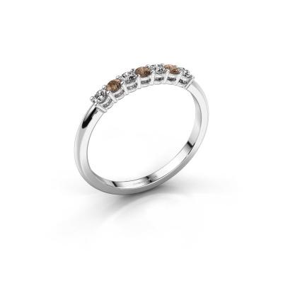 Verlovings ring Michelle 7 585 witgoud bruine diamant 0.21 crt