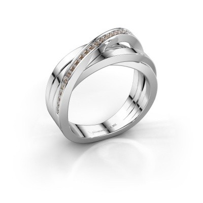 Foto van Ring Britt 585 witgoud bruine diamant 0.14 crt