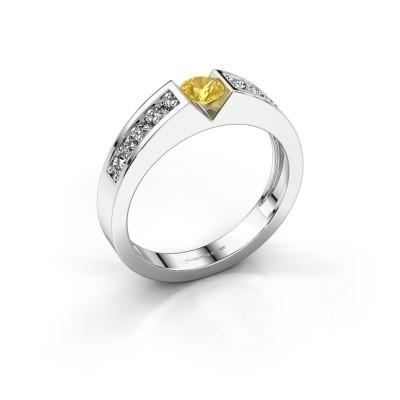 Engagement ring Lizzy 2 950 platinum yellow sapphire 4.2 mm