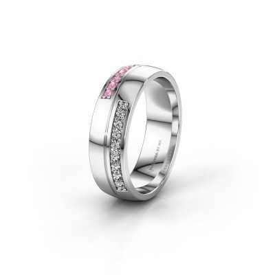 Wedding ring WH0213L26AP 585 white gold pink sapphire ±0.24x0.07 in