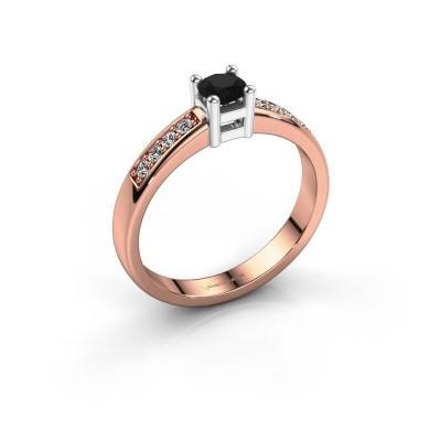 Bague de fiançailles Eline 2 585 or rose diamant noir 0.36 crt