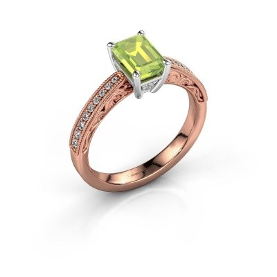 Verlovingsring Shonta EME 585 rosé goud peridoot 7x5 mm