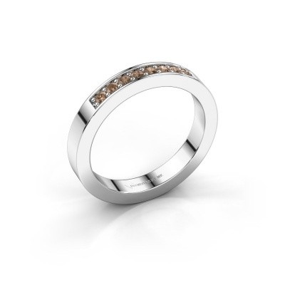Stackable ring Loes 5 925 silver brown diamond 0.16 crt