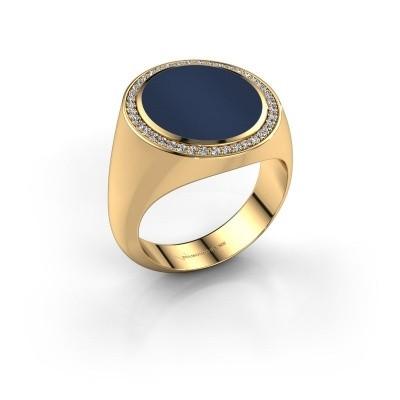 Zegelring Adam 5 375 goud donker blauw lagensteen 15x13 mm