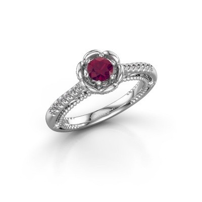 Photo de Bague de fiançailles Abbey 585 or blanc rhodolite 4.2 mm