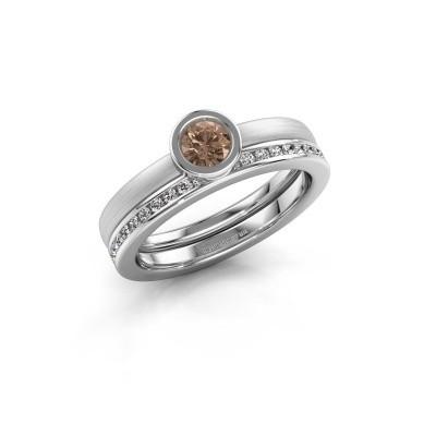 Foto van Ring Cara 585 witgoud bruine diamant 0.69 crt