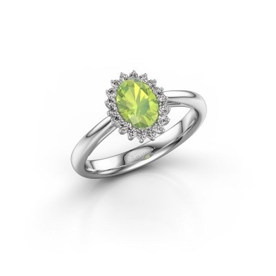 Engagement ring Tilly ovl 1 585 white gold peridot 7x5 mm