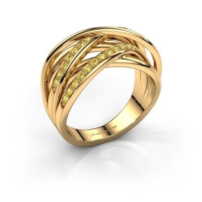 Ring Fem 2 375 gold yellow sapphire 1.5 mm