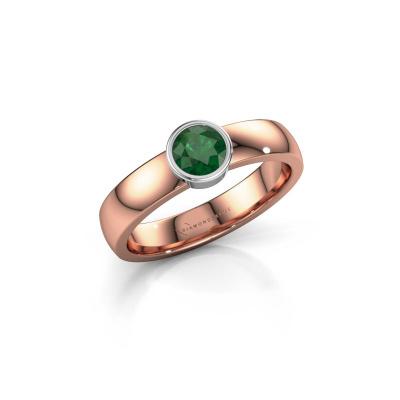 Foto van Ring Ise 1 585 rosé goud smaragd 4.7 mm