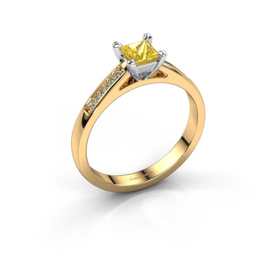 Engagement ring Nynke SQR 585 gold yellow sapphire 4 mm