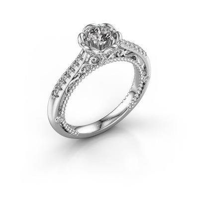Foto van Aanzoeksring Abbey 585 witgoud diamant 0.508 crt