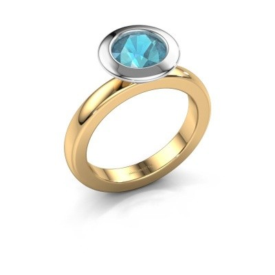 Stacking ring Trudy Round 585 gold blue topaz 7 mm