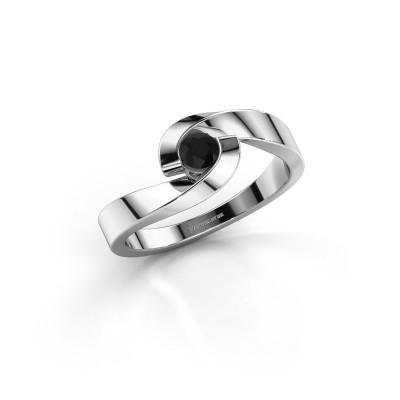 Foto van Verlovingsring Sheryl 585 witgoud zwarte diamant 0.24 crt