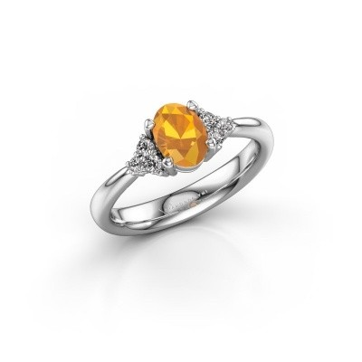 Picture of Engagement ring Aleida OVL 1 585 white gold citrin 7x5 mm