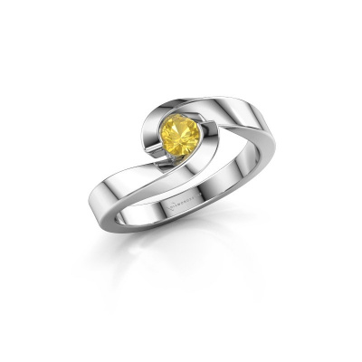 Foto van Ring Sheryl 925 zilver gele saffier 4 mm