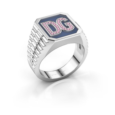 Signet ring Mike 585 white gold pink sapphire 1 mm