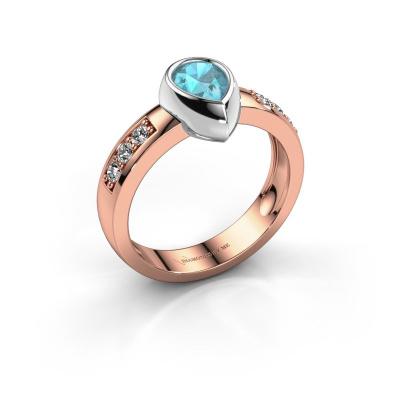 Ring Charlotte Pear 585 rose gold blue topaz 8x5 mm