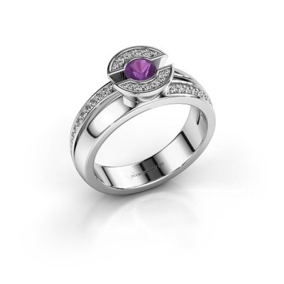 Ring Jeanet 2 585 white gold amethyst 4 mm