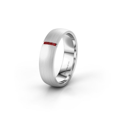 Wedding ring WH0154L25XM 585 white gold ruby ±0.20x0.05 in