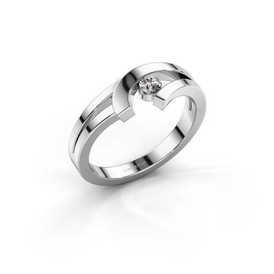 Ring Yentl 585 witgoud zirkonia 3 mm