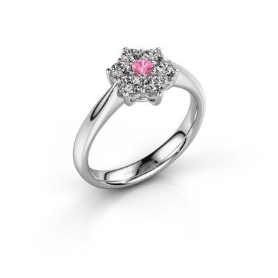Foto van Promise ring Chantal 1 585 witgoud roze saffier 2.7 mm