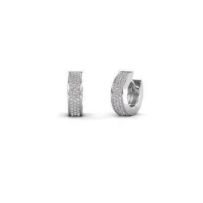 Foto van Creolen Renee 3 9 mm 585 witgoud lab-grown diamant 0.70 crt